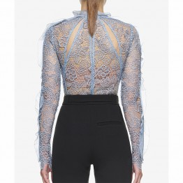 2017 Women Summer Hollow Tops Brand Design Blusa Floral Crochet Lace Femme Perspective White Baby Blue Camisas Mujer SWC0255-45