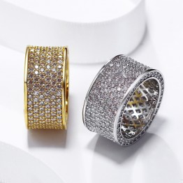 2018 Best Classic design Wedding band Jewelry Gold-color Cubic zircon Crystal Pave rings High quality fashion Clear stone ring