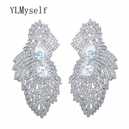 2018 bijoux earring Unique Design Nickel Free Setting White Cubic Zirconia Bridal Earrings for Party