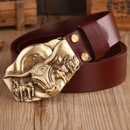 2018 dragon hot designer belt men high quality vegetable tanned full grain cowhide 100% genuine leather luxury tiger solid brass