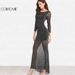COLROVIE 2018 Party Dress Black Scoop Neck Backless Long Sleeve Maxi Dress Women Lettuce Edge Open Back Sparkle Mesh Dress