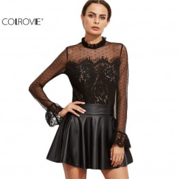 COLROVIE Designer Shirts for Women Top Brand Black Lace Blouse Black Fungus Collar Keyhole Back Lace Trim Top Long Sleeve Blouse