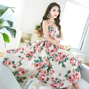 High Quality 2018 Fashion Designer Runway Summer Dress Women's Spaghetti Strap Backless Casual Elegant Rose Floral Print Dress32846417150