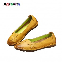 Hot XGRAVITY 2018 Autumn Fashion Floral Design Ladies Casual Mixed Color Flat Shoes Genuine Leather Women Flats Girl Loafer C006