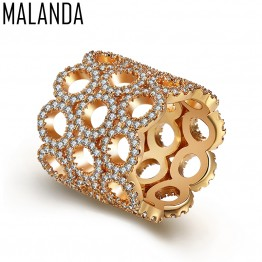 MALANDA Luxury Gold Color Top Zircon Rings For Women New Design Exaggerate Female Weddings Party Rings Jewelry Girl Gift 2018
