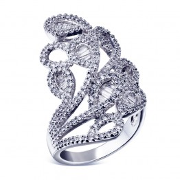 Newest 2018 Abstract Look Gold-color Metal Wedding Luxury Jewelry Channel Setting CZ Stone Unique Special Design Rings for women