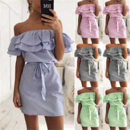 SHIBEVER Women Beach Casual Summer Dress Striped Pattern Ladies Fashion Mini Dress Boho Elegant Bohemian Party Dresses LD198