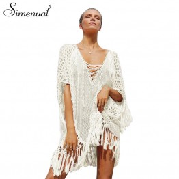 Simenual Oversize knitted fringe boho summer dress beachwear swimsuit output lace up crochet beach dresses women sheer pareos